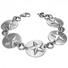 Armband aus Edelstahl - Kreise mit Sternen