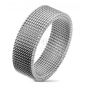 Stahlring in silberner Farbe mit gewebtem Netzmuster