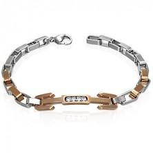 Armband aus Chirurgenstahl - Dreizack mit Steinchen