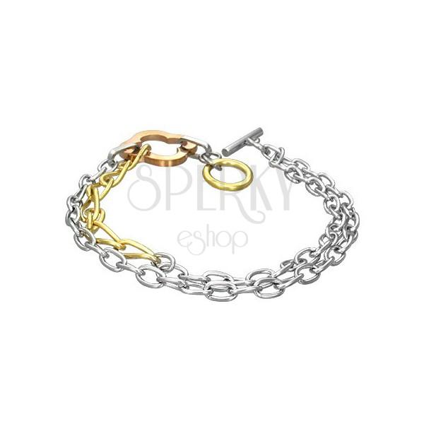 Doppel Armkette aus Edelstahl - Kleeblatt