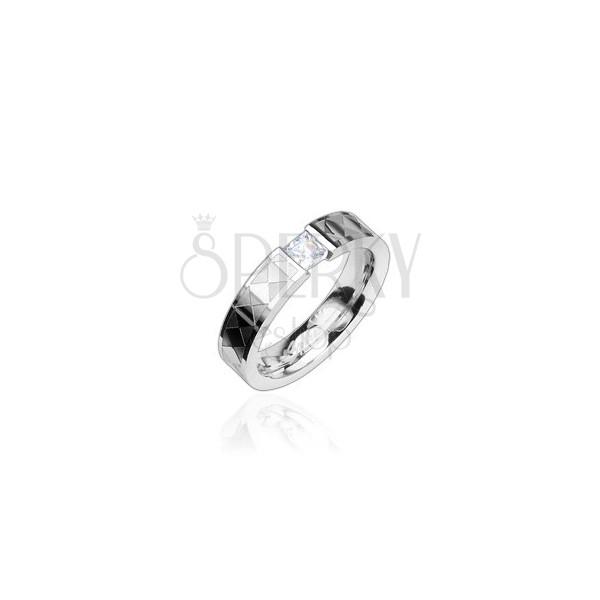Schmaler Stahl Ring mit klarem Zirkonia, bemustert