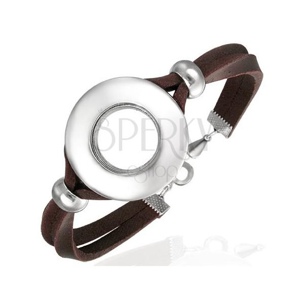 Armband aus Leder mit rundem Schmuck