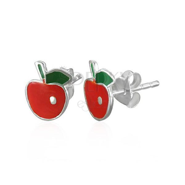 Apfel Ohrringe aus Silber mit Blatt