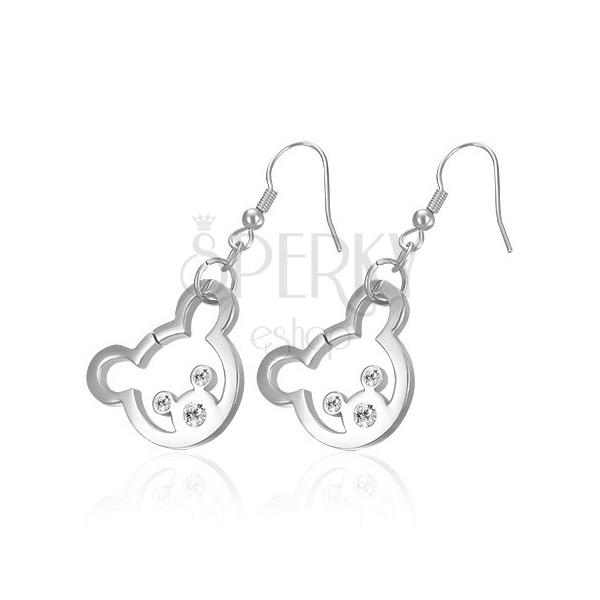 Stahl Ohrringe in silberner Farbe - Bär mit Zirkon Augen und Nase