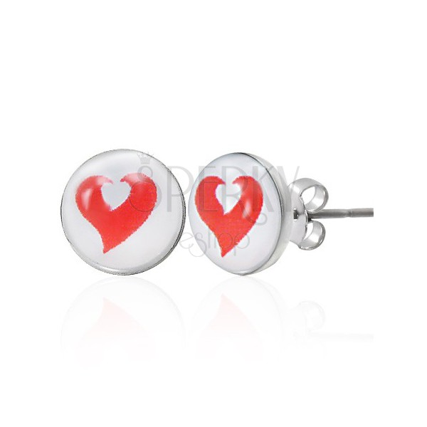 Edelstahlohrringe mit weiß-rotem Herz