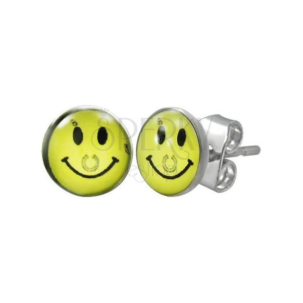 Edelstahlohrstecker - gelber Smiley mit Hufeisen