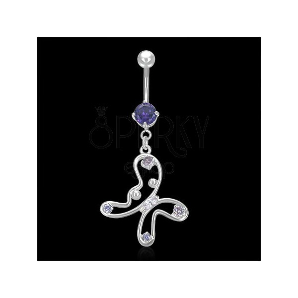 Belly ring - ein Schmetterling mit Zirkonen