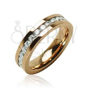 Goldener Ring aus Chirurgenstahl mit umlaufender Zirkonia Reihe