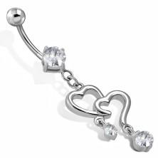 Stahl Bauchnabelpiercing - zwei Herzumrisse mit hängenden Zirkonen