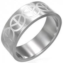 Ring aus Edelstahl mit PEACE Zeichen
