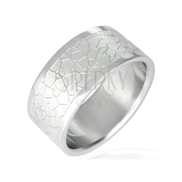 Ring aus Chirurgenstahl mit unregelmäßiger Mosaikstruktur