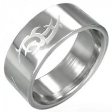 Polierter Ring aus Edelstahl mit mattem Tribal Symbol