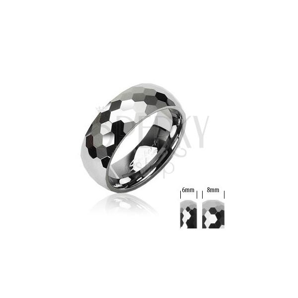 Wolfram Ring mit einem Muster aus kleinen Hexagonen, 8 mm