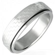 Drehbarer Ring aus Edelstahl mit Schachbrettmuster