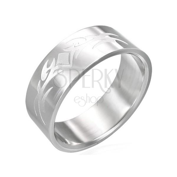 Glänzender Ring aus Edelstahl mit mattiertem Symbol