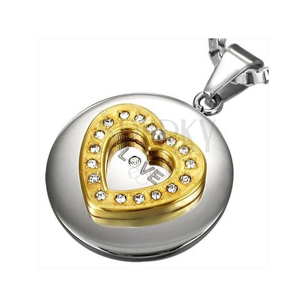 Schmuckanhänger aus Chirurgenstahl - goldenes Zirkonia Herz