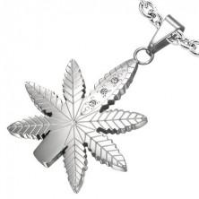 Cannabis Anhänger aus Edelstahl mit Zirkonia