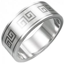 Ring aus Edelstahl geschmückt mit griechischem Motiv