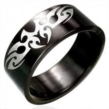 Edelstahlring in schwarzer Ausführung, TRIBAL Muster