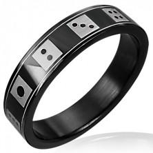 Schwarzer Ring aus Edelstahl - Spielwürfeln