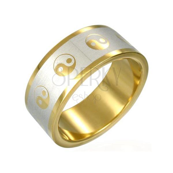 Vergoldeter Yin und Yang Ring