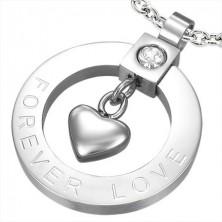 Stahlanhänger - Herz und Zirkonia - FOREVER LOVE