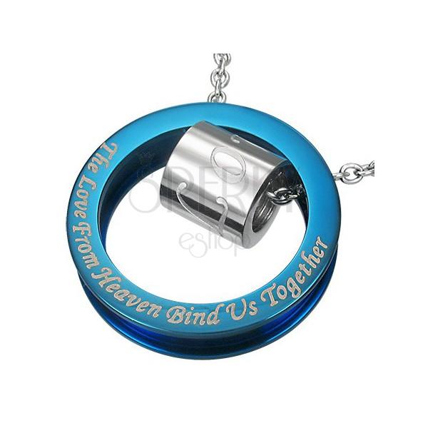 Silber-blauer Edelstahlanhänger in Kreisform, Liebesspruch