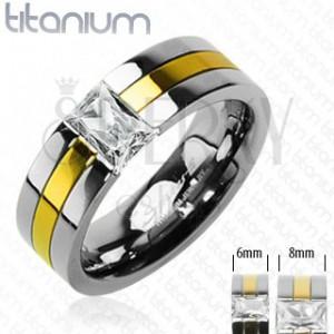 Hochzeitsring aus Titan mit goldener Einlage und Zirkonia