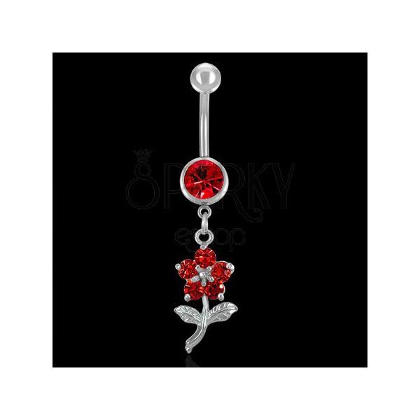 Bauchnabelpiercing - rote Blume