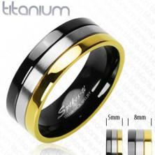 Ehering aus Titan - schwarzer, silberner und goldener Streifen