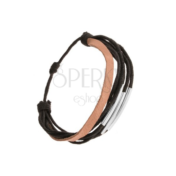 schwarz braunes armband aus leder und kordeln gl nzende. Black Bedroom Furniture Sets. Home Design Ideas