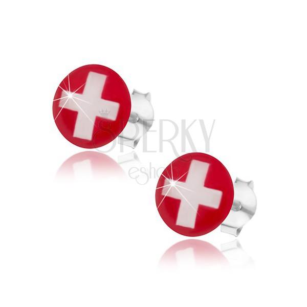 Rote flagge weißes kreuz