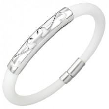 Weißes rundes Gummi Armband mit Ornament