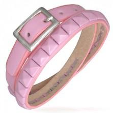Pink Doppel Armband aus Leder mit Pyramidennieten