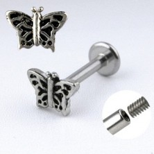 Kinnlabret Stahl Piercing - Schmetterling mit Einschnitten geschmückten Flügeln