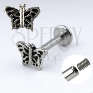 Kinnlabret mit einem Schmetterling