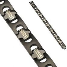 Schwarzes Armband aus Edelstahl mit griechischem Motiv