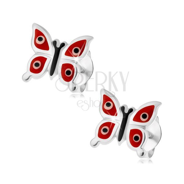 925 Silberohrstecker, rote Schmetterlinge - weiße und schwarze ...