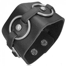 Schwarzes Lederarmband mit Kreisen aus Metall
