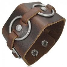 Armband aus braunem Leder mit Metallkreisen