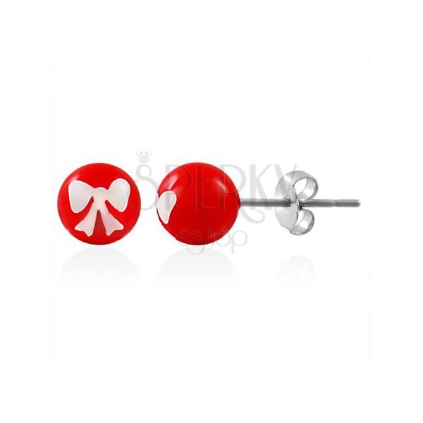 Edestahlohrstecker, rote Kugeln mit wießer Schleife