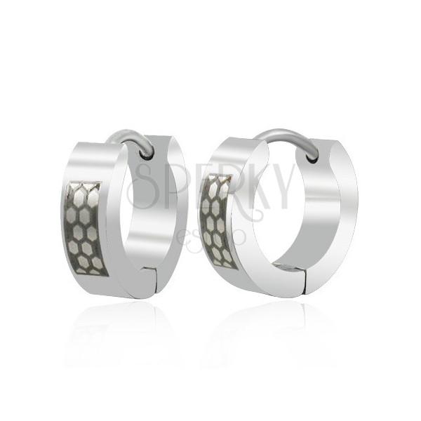 Silber-schwarze Ohrringe Kreise aus Edelstahl, Bienenwaben