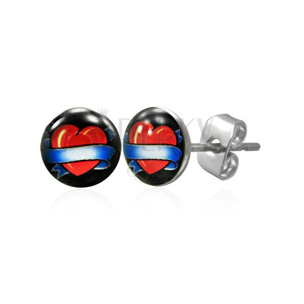Runde Stahl Ohrringe - Herz mit Band