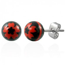 Edelstahlohrringe in Kugelform - schwarz mit roter Blume