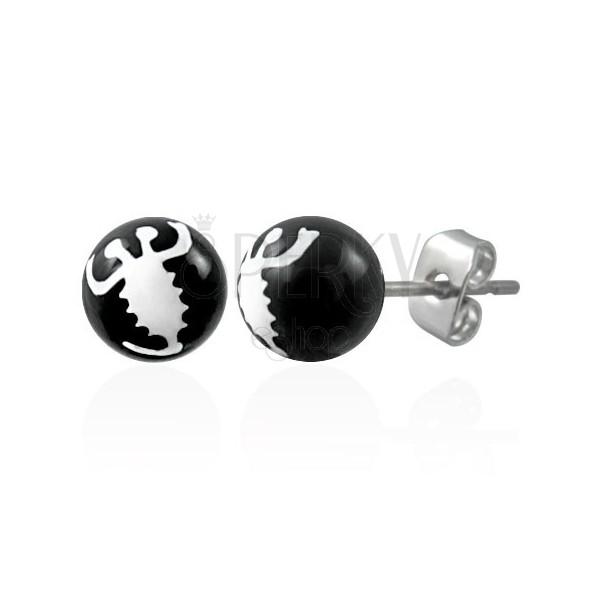 Schwarze Ohrringe in Kugeloptik - weißer Skorpion
