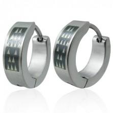 Ohrringe - Kreise aus rostfreiem Stahl, schwarzes Rechteck