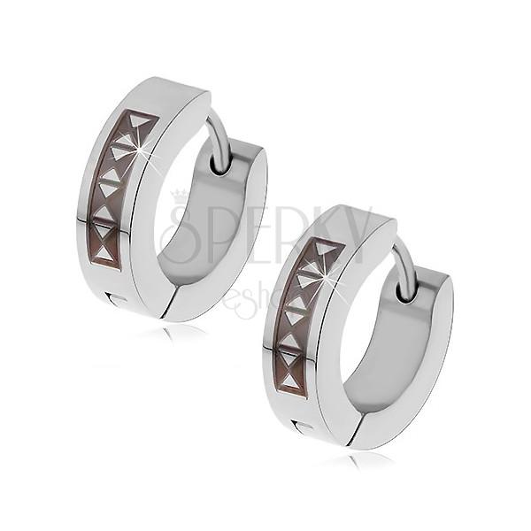 Ohrringe aus 316L Stahl mit schwarzem Dreieckmuster