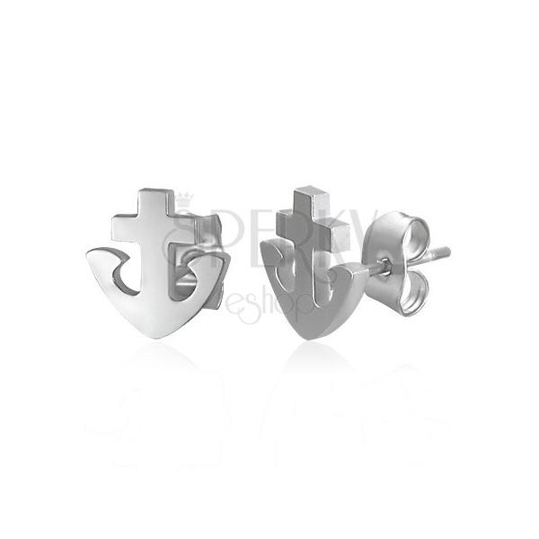 316L Edelstahlohrstecker - Anker und Kreuz, silberne Farbe