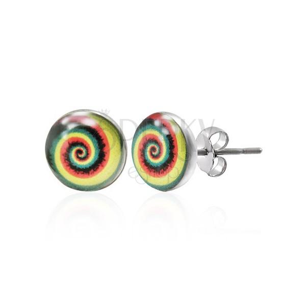 Bunte Edelstahlohrringe mit einer Spirale