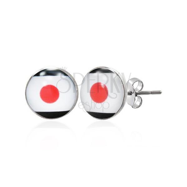 Ohrringe aus Edelstahl - japanische Flagge